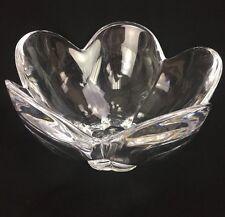"""Orrefors Sweden Crystal Art Glass Deep Flower Petals Bowl Signed 7-3/4"""" Diameter"""