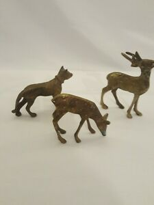 3 Brass Animals To Include Two Deers & One Dog