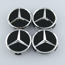 Mercedes Benz SL Class Models - 75mm Wheel Centre Caps - Black and Chrome