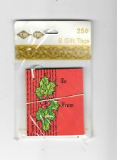 """NOS 8 Vintage Christmas Gift Tags Red Holly 3"""" x 3"""""""