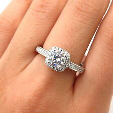 925 Sterling Silver Swarovski Crystal Square-Cut Engagement Ring Size 8