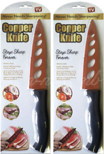 Copper Knife As Seen On TV Non-Stick Copper Never Needs Sharpening LOT OF TWO