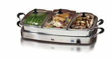 Elite Platinum EWM-9933 Deluxe Triple Buffet Server Food Party Tray, Oven-Safe P