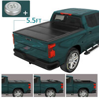 For 07-21 Toyota Tundra 5.5 Ft Bed Hard Solid Tri-Fold Clamp-On Tonneau Cover