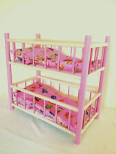 NEW WOODEN BUNK BED COT CRIB DOLLS TOY.