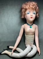 "Rare Vintage Sterling 27"" Composition Boudoir Bed Fashion Doll Jointed Arms"