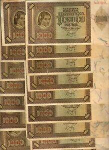 WWII FASCIST CROATIA: EIGHTEEN  (18) x 1000 KUNA (1941)