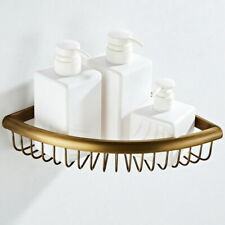 Antique Brass Wall Mounted Bathroom Large Corner Shower Storage Basket QD1736