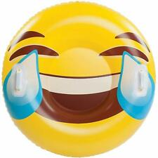 Luge Bouée Gonflable 120 cm Emoji Smiley avec Poignées