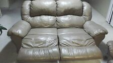 BROWN LEATHER DOUBLE RECLINING  LOVESEAT