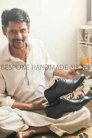 Chaussures richelieus à bout pointu en cuir véritable noir et violet à la main