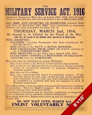 WWI BRITISH MILITARY SERVICE ACT OF 1916 WORLD WAR POSTER REAL CANVASART PRINT