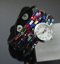Wickelarmband-Uhr Slake Armbanduhr Wildleder Look Glitzer Kristall 9 Reihe Bunt