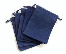 NEW 5 Piece 4 x 5.5 Velveteen Cloth Dice Bag Set – RPG D&D Pouch – Navy Blue