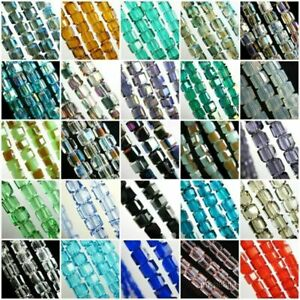 Wholesale 4MM Charms Swarovski Crystal Faceted Cube Square Loose Spacer Bead
