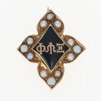 Xi Psi Phi Badge - Pearls Opals 14k Yellow Gold Enamel Fraternity Pin Greek 1898