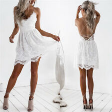Womens Sleeveless Short Mini Dresses V-neck Lace Backless Evening Party Sundress
