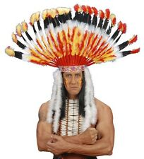 Deluxe Orange Feather Native American Indian Chief Headdress Fancy Dress Access