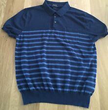 Ralph Lauren Polo Prima Cotton Blue Stripe Short Sleeve Fine Knit Polo Size L