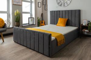 Plush Velvet Sleigh Bed Frame Upholstered With Mattress 4FT6 Double & 5ft King