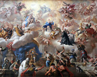 Triumph Of The Immaculate Christian Painting Fine Art Real Canvas Print