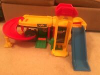 Fisher Price Little People Ramps Around Garage with elevator