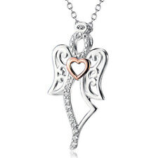 """925 Sterling Silver White Crystal CZ Heart Angel Wings Pendant Necklace 18"""""""