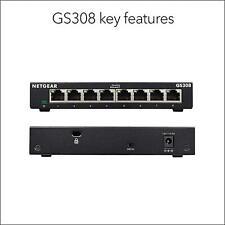 More details for netgear gs308 8-port gigabit ethernet network switch hub internet splitter new