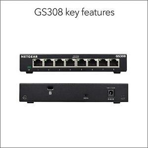 NETGEAR GS308 8-Port Gigabit Ethernet Network Switch Hub Internet Splitter NEW