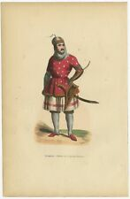 Antique Print of a Kyrgyz Soldier by Wahlen (1843)