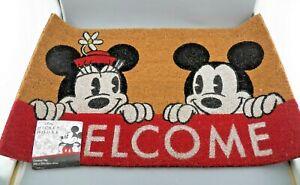 Disney Mickey & Minnie Mouse WELCOME MAT 100% Coir & Rubber Mat 20'' x 32'' NEW
