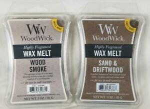 Woodwick Candle Scented Wax Melt Cubes: WOOD SMOKE + SAND & DRIFTWOOD Lot of 2