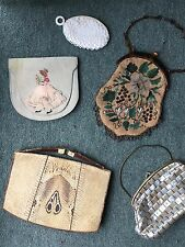 collection lot 5 x vintage antique handbags purse snake skin bead silk art deco