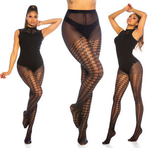 Koucla Women's Stockings With Houndstooth Pattern