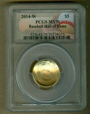 2014-W U.S. Baseball Hall of Fame $5 UNC Gold Commemorative Coin PCGS MS70