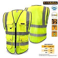 Class 2 Superior Economy Safety Vest Yellow Hi Viz Mesh Zip Up Heavy Duty New XL