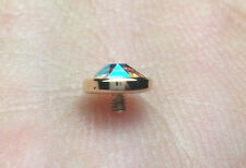 Dermal Anchor Tops 14k Solid Yellow Gold 5mm Bezel Set With Swarovski AB Color