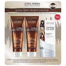 John Frieda Brilliant Brunette Color Protecting Shampoo Conditioner Glaze Bundle
