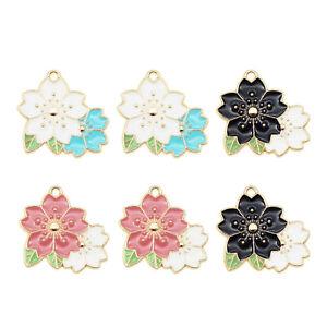6pcs Enamel Plated Alloy Cherry Blossom Flower Model Charms Pendant DIY Findings