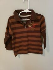 Kenneth Cole Reaction Boys Long Sleeve Collared Brown Stripe Shirt Size 3t