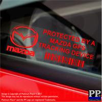 5 x RED- Mazda GPS Tracking Device Security Stickers-MX5 CX5-Car Alarm Tracker