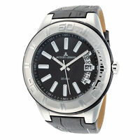 Jacques Lemans Men's Miami 50mm Black and Silver Dial Leather Watch