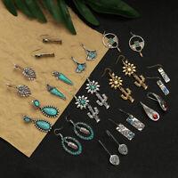 Drop Earrings Imitated Gemstone Turquoise Hook Earring Hanging Flower Leaves
