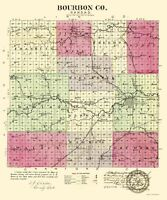 Bourbon County Kansas - Everts 1887 - 23.00 x 27.55