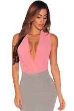 Women V Neck Bodysuit Tops Sleeveless Faux Wrap Blouse Shirt Club Bodysuit M-XL