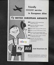 BEA BRITISH EUROPEAN AIRWAYS 1957 FRIENDLY VISCOUNT SERVICE IN EUROPEAN SKIES AD