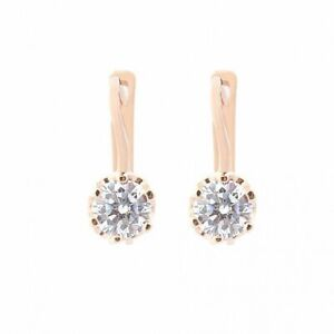 Earrings  cubic zirkonia solid rose gold 14K 585 6.9ct Russian style