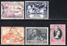 SINGAPORE 1949 UPU AND 1953 QEII CORONATION ISSUE SCOTT 23-26, 27 USED
