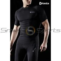 Tesla Mens Baselayer Short Sleeves Shirt Armour Compression Tights Apparel Gym