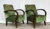 Pair of Art Deco Armchairs, Club Cocktail Chairs. 1920s Vintage Antique Halabala